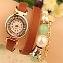 cheap Bracelet Watches-Women's Quartz Japanese Quartz Wrist Watch Hot Sale Leather Band Casual Bohemian Pearls Black White Red Brown