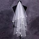 baratos Véus de Noiva-Uma Camada Corte da borda Véus de Noiva Véu Ponta dos Dedos Com Apliques 59,06 in (150cm) Tule