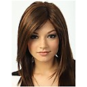 cheap Synthetic Wigs-Synthetic Wig Straight With Bangs Synthetic Hair Highlighted / Balayage Hair / With Bangs Brown Wig Women's Long Capless