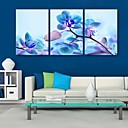 cheap Prints-E-HOME® Stretched Canvas Art Blue Flowers Decoration Painting Set of 3