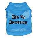 cheap Dog Clothes-Cat Dog Shirt / T-Shirt Dog Clothes Letter & Number Blue Terylene Costume For Pets