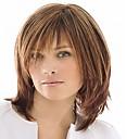 hesapli Sentetik Kapsız Peruklar-Sentetik Peruklar Düz Bantlı Sentetik Saç Yüksek Kalite Kahverengi Peruk Kadın's Orta Bonesiz