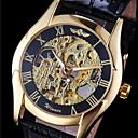 preiswerte Mechanische Uhren-WINNER Herrn Armbanduhr Mechanische Uhr Automatikaufzug Transparentes Ziffernblatt Leder Band Analog Charme Schwarz - Gold