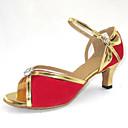 baratos Sapatos de Dança Latina-Mulheres Sapatos de Dança Latina / Dança de Salão Flocagem Salto Presilha Salto Personalizado Personalizável Sapatos de Dança Preto /