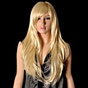 お買い得  人工毛ウィッグ-人工毛ウィッグ ストレート スタイル バング付き キャップレス かつら ブロンド 合成 26 インチ 女性用 ブロンド かつら ハロウィンウィッグ