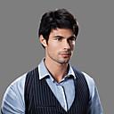 billige Syntetiske parykker uten hette-topp karakter Fuel kvalitet menneskelig hår menns parykker 4 farger å velge