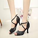 preiswerte Latein Schuhe-Damen Schuhe für den lateinamerikanischen Tanz / Aufführung / Gymnastik Satin Sandalen Glitter Stöckelabsatz Maßfertigung Tanzschuhe