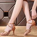 abordables Bombillas LED-Mujer Zapatos de Baile Latino Satén / Semicuero Sandalia Hebilla Tacón Carrete No Personalizables Zapatos de baile Marrón / Azul / Naranja