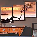 رخيصةأون ساعات حائط كانفا يدوية-3 قطع الإبداعية الحديثة e-home® البحر ساعة البحر الميت في قماش التناظرية