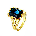 baratos Brincos-Mulheres Sapphire sintético Anel - Banhado a Ouro 18K Fashion Dourado / Azul / Azul Real Para Diário