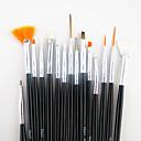 رخيصةأون لمبات LED-15PCS مقبض أسود مجموعة فرشاة الفن مسمار تصميم اللوحة رسم القلم&محفظة 5pcs 2-طريقة التنقيط الترخيم أداة القلم