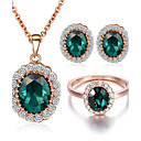 cheap Jewelry Sets-Women's Crystal / Synthetic Emerald Jewelry Set - Crystal, Cubic Zirconia, Imitation Diamond Include Rings Set For Wedding / Party / Daily