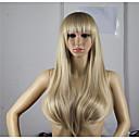 hesapli At Kuyrukları-Sentetik Peruklar Dalgalı Asimetrik Saç Kesimi Sentetik Saç Doğal saç çizgisi Altın / Sarışın Peruk Kadın's Uzun Bonesiz