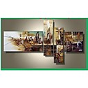 cheap Wedding Decorations-Oil Painting Hand Painted - Abstract Canvas Four Panels
