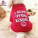 cheap Dog Clothes-Cat Dog Shirt / T-Shirt Dog Clothes Heart Letter & Number Rose Cotton Costume For Pets Cosplay Wedding