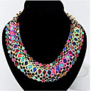 ieftine Colier la Modă-Pentru femei Cristal Coliere - Piele, Diamante Artificiale Curcubeu Coliere Pentru Petrecere