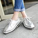 זול מוקסינים לנשים-בגדי ריקוד נשים נעליים דמוי עור אביב / קיץ / סתיו עקב נמוך שרוכים לבן / שחור / כסף