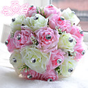 "baratos Bouquets de Noiva-Bouquets de Noiva Buquês Casamento Miçangas Poliéster Cetim Espuma 11.02""(Aprox.28cm)"