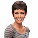 abordables Pelucas de Cabello Natural-Pelucas sintéticas Ondulado Corte Bob / Corte Pixie / Con flequillo Pelo sintético Con golpes Peluca Mujer Corta Sin Tapa Negro