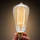 hesapli Lamba Bazları ve Konektörler-Ecolight™ 1pc 40W E27 E26 / E27 ST64 Sıcak Beyaz 2300k Incandescent Vintage Edison Ampul 220-240V