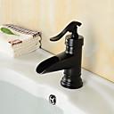 preiswerte Duschköpfe-Waschbecken Wasserhahn - Wasserfall Öl-riebe Bronze Mittellage Ein Loch / Einhand Ein LochBath Taps