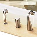 billiga Badrumsinredning-Badkarskran - Nutida Nickelborstad Badkar och dusch Keramisk Ventil Bath Shower Mixer Taps / Enda handtag tre hål