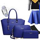 baratos Conjunto de Bolsas-Mulheres Bolsas PU Tote / Bolsa de Ombro para Compras / Formal / Escritório e Carreira Fúcsia / Azul / Rosa claro