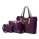 cheap Bag Sets-Women's Bags Patent Leather / PU(Polyurethane) Tote / Shoulder Bag / Bag Set 3 Pcs Purse Set Solid Colored Black / Purple / Red