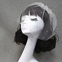 cheap Party Headpieces-One-tier Cut Edge Wedding Veil Blusher Veils / Veils for Short Hair with Rhinestone Tulle / Birdcage