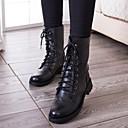 お買い得  レディースブーツ-女性用 靴 レザーレット 秋 / 冬 コンバットブーツ ローヒール 15.24-20.32 cm / ミドルブーツ 編み上げ ブラック
