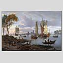 preiswerte Landschaften-Hang-Ölgemälde Handgemalte - Landschaft Europäischer Stil Modern Segeltuch