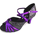 cheap Latin Shoes-Men's / Women's Latin Shoes Sparkling Glitter / Satin Sandal Customized Heel Customizable Dance Shoes Purple / Indoor / Performance