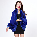 cheap Clutches & Evening Bags-Long Sleeve Faux Fur / Imitation Cashmere Wedding Wedding  Wraps / Fur Coats / Hoods & Ponchos With Feathers / Fur Capelets