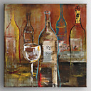 cheap Oil Paintings-Hand Painted Abstract Wine Bottle and Wine Cup Oil Painting with Stretched Framed Ready to Hang