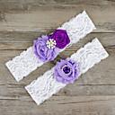 ราคาถูก ถุงเท้าสำหรับงานแต่งงาน-ชิฟฟอน / ลูกไม้ / ซาติน แฟชั่น Wedding Garter กับ ของประดับด้วยลูกปัด / ลูกไม้ / ดอกไม้ สายรัด