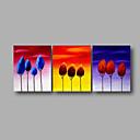 hesapli Manzara Resimleri-Hang-Boyalı Yağlıboya Resim El-Boyalı - Çiçek / Botanik Modern Iç çerçeve dahil / Üç Panelli / Gerilmiş kanvas
