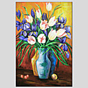 cheap Oil Paintings-Oil Painting Hand Painted - Floral / Botanical Modern / European Style Canvas