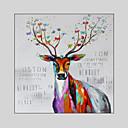 povoljno Slike sa životinjskim motivima-Hang oslikana uljanim bojama Ručno oslikana - Pop art Moderna Uključi Unutarnji okvir / Prošireni platno