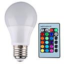 baratos Lâmpadas de LED-YWXLIGHT® 500 lm E26/E27 Lâmpada Redonda LED A60(A19) 1 leds LED de Alta Potência Regulável Decorativa Controle Remoto RGB AC 85-265V