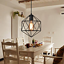baratos Luzes Pingente-Gaiola de metal preto do vintage loft pingente luzes sala de estar sala de jantar corredor café bares luminária pintada acabamento