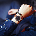 baratos Relógios da Moda-Homens / Mulheres / Casal Relógio de Pulso Venda imperdível Couro Banda Amuleto / Fashion Preta / Marrom / Aço Inoxidável / Um ano / SSUO 377