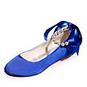 Χαμηλού Κόστους Γυναικεία παπούτσια γάμου-Γυναικεία Παπούτσια Σατέν Άνοιξη / Καλοκαίρι Μπαλαρίνα Γαμήλια παπούτσια Επίπεδο Τακούνι Στρογγυλή Μύτη Πέρλες / Κορδέλα Μπλε / Ανοικτό