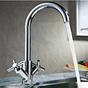 cheap Audio & Video Cables-Kitchen faucet - Two Handles One Hole Chrome Bar / ­Prep Deck Mounted Contemporary