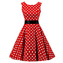 cheap Bakeware-Women's Going out Vintage Cotton A Line Dress - Polka Dot Red, Print