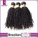 hesapli Çerez Araçları-Düz Brezilya Saçı Klasik / Kinky Curly Virgin Saç İnsan saç örgüleri 3 Paket İnsan saç örgüleri İnsan Saç Uzantıları / Kinky Kıvırcık
