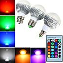 tanie Przynęty i muchy wędkarskie-YWXLIGHT® 3 szt. 5 W 540 lm E14 / GU10 / B22 Żarówki LED kulki A60(A19) 1 Koraliki LED LED wysokiej mocy Przygaszanie / Zdalnie sterowana / Dekoracyjna RGB 85-265 V / 1 szt. / ROHS