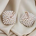 preiswerte Modische Ohrringe-Damen Perle Ohrstecker / Ohr-Stulpen - Perle, Krystall, Künstliche Perle Luxus Weiß Für Party / Alltag / Normal / vergoldet / Diamantimitate