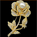 cheap Brooches-Women's Brooches - Pearl, Cubic Zirconia, Rose Gold Plated Roses, Flower Ladies, Luxury, Party, Fashion Brooch Jewelry Gold For Wedding / Party / Special Occasion / Anniversary / Birthday / Gift