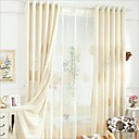 cheap Curtains Drapes-Rod Pocket Grommet Top Tab Top Double Pleat Pencil Pleat Two Panels Curtain Country, Embroidery Bedroom Linen / Cotton Blend Material