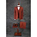 preiswerte Synthetische Perücken ohne Kappe-Braun Solide Reguläre Passform Baumwollmischung Anzug - Steigendes Revers Einreiher - 1 Knopf